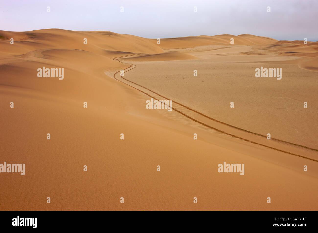 Tire tracks through Namib Desert, Namibia - Stock Image