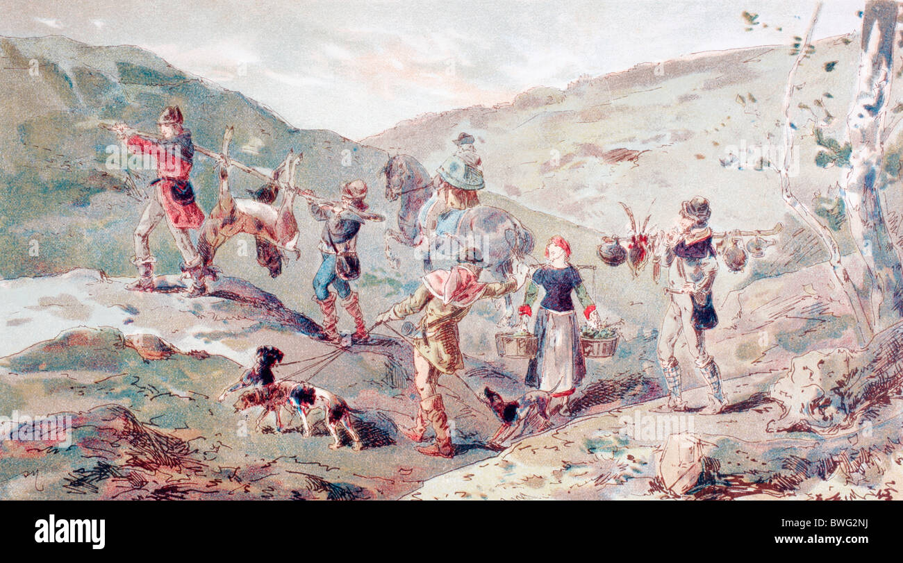 13th century hunting party with porters. - Stock Image