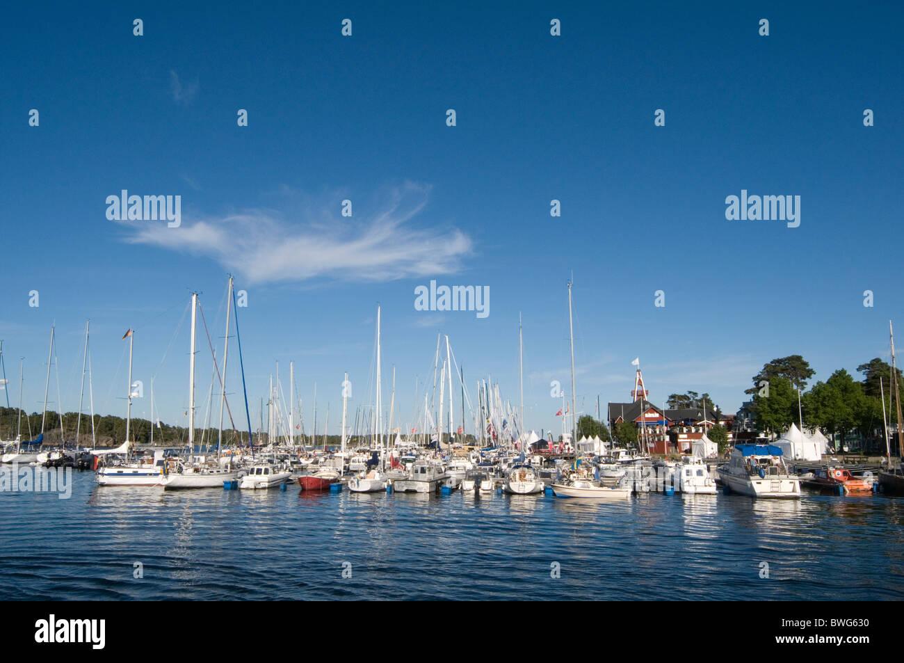Stockholm archipelago sandhamn archipelagos marina boat boats yacht yachts yachting - Stock Image