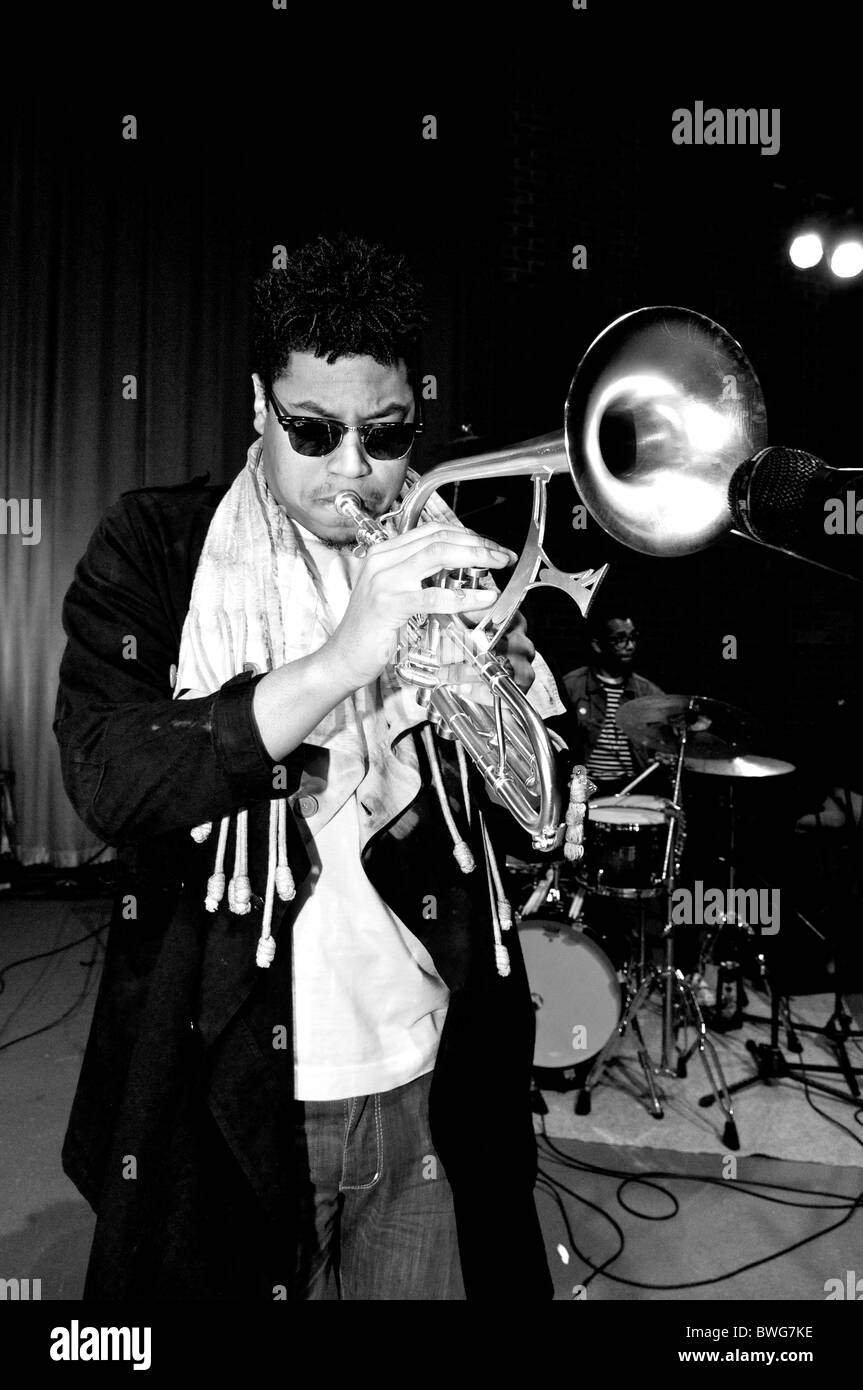 Christian Scott playing his bespoke Adams trumpet during sound checks at the Turner Sims Concert Hall, Southampton - Stock Image
