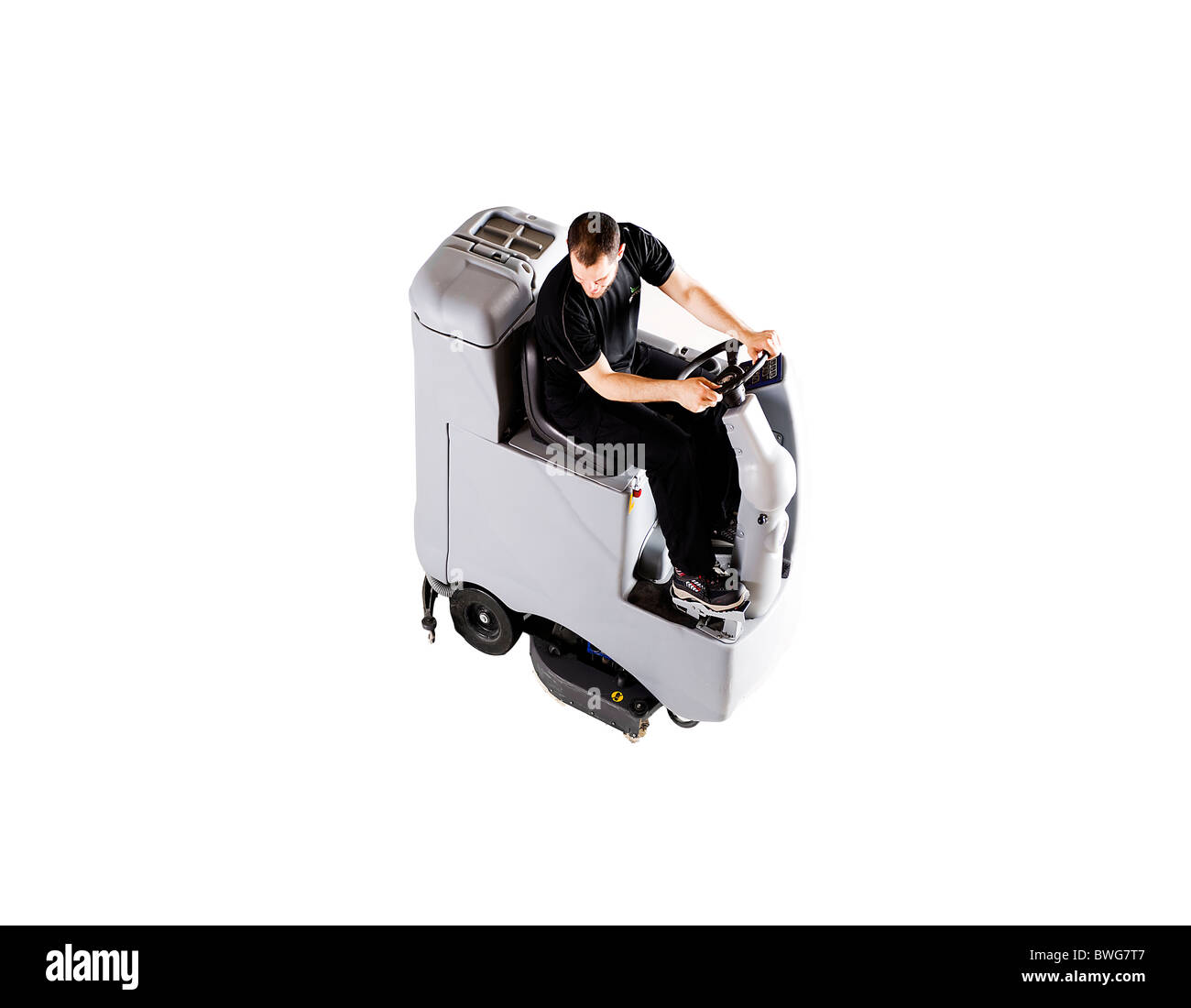 Floor cleaning machine from above - Stock Image