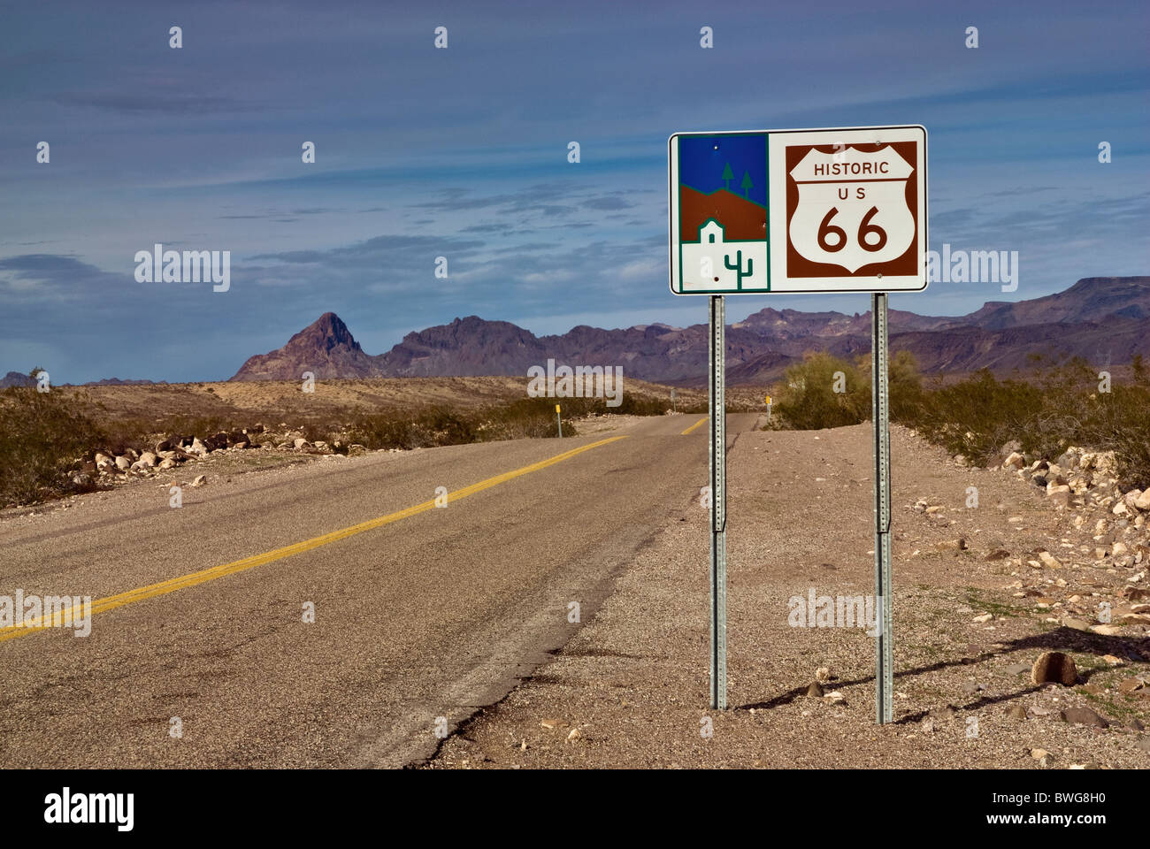 Sign at Black Country Byway Historic Route 66 (Oatman Highway), Black Mountains, Mojave Desert near Oatman, Arizona, - Stock Image
