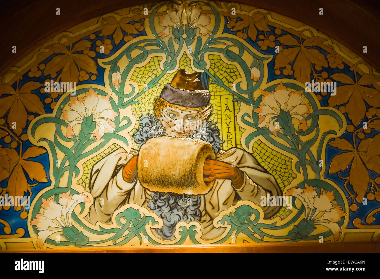 Art Deco Mosaics in a bistrot, Lyon, France - Stock Image