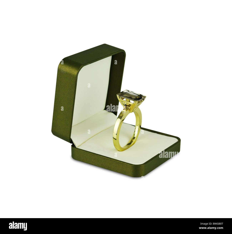 Diamond ring inside jewelry box - Stock Image