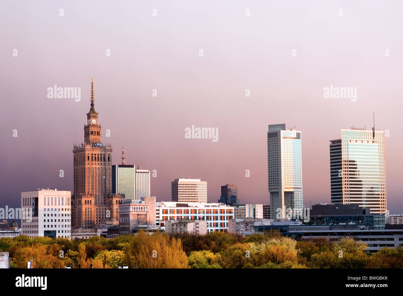 Warsaw, capital city of Poland cityscape, just before the sunset, featuring Palace of Culture and Science, Srodmiescie Stock Photo