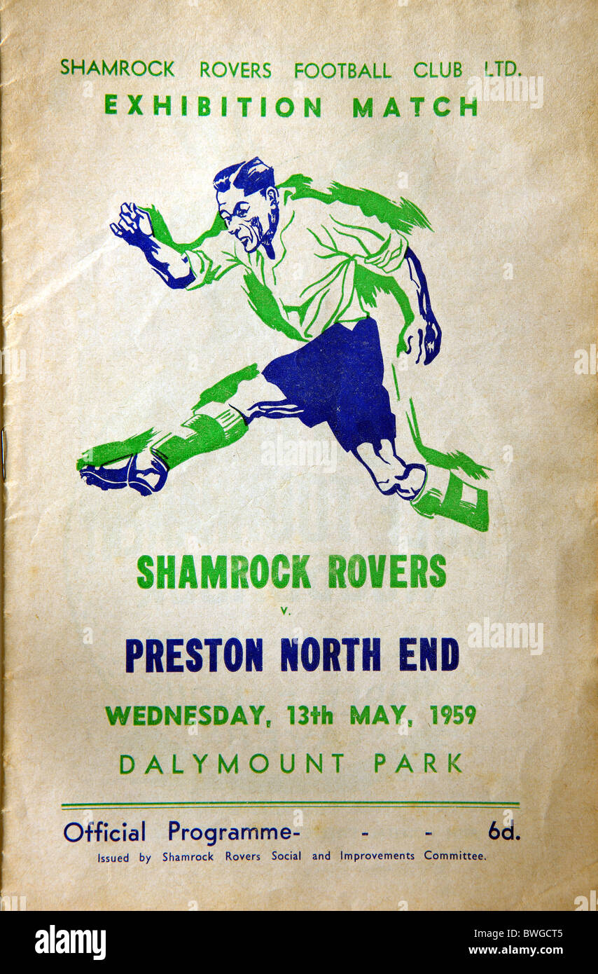 Official Programme for the Shamrock Rovers Football Club Ltd exhibition match against Preston North End on Wednesday - Stock Image