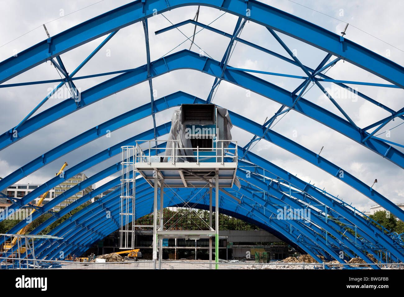 Metal frame structure on construction site of the shopping mall building - Stock Image