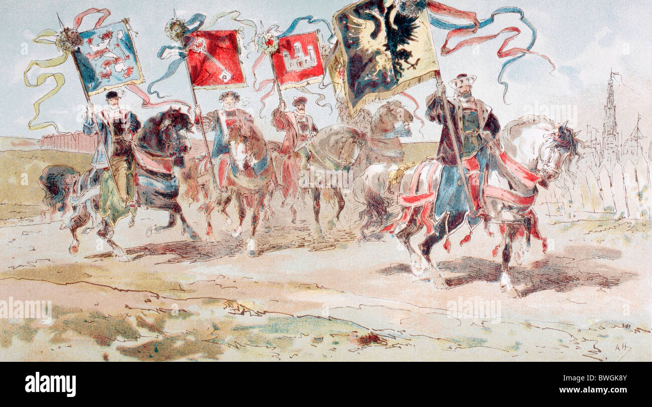 Horsemen carrying banners of the Hanseatic League and of towns belonging to the League. 16th century. - Stock Image