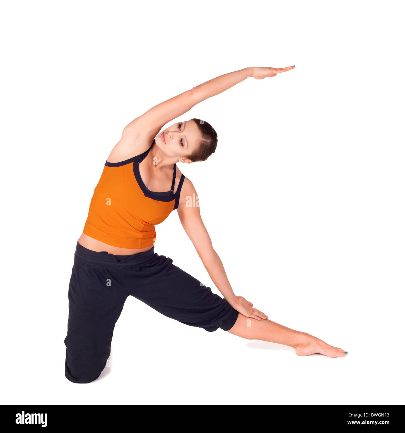 Fit Woman Doing Yoga Exercise Called Gate Pose Sanskrit Name Parighasana Isolated Over White Background