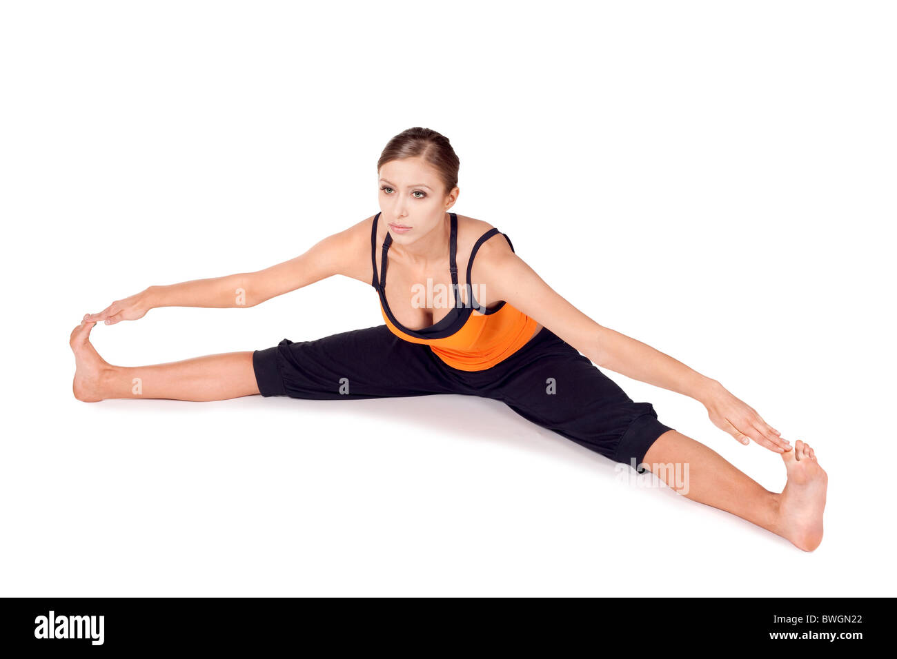 Woman Doing First Stage Of Yoga Exercise Called Seated Wide Angle Pose Sanskrit Name Upavista Konasana