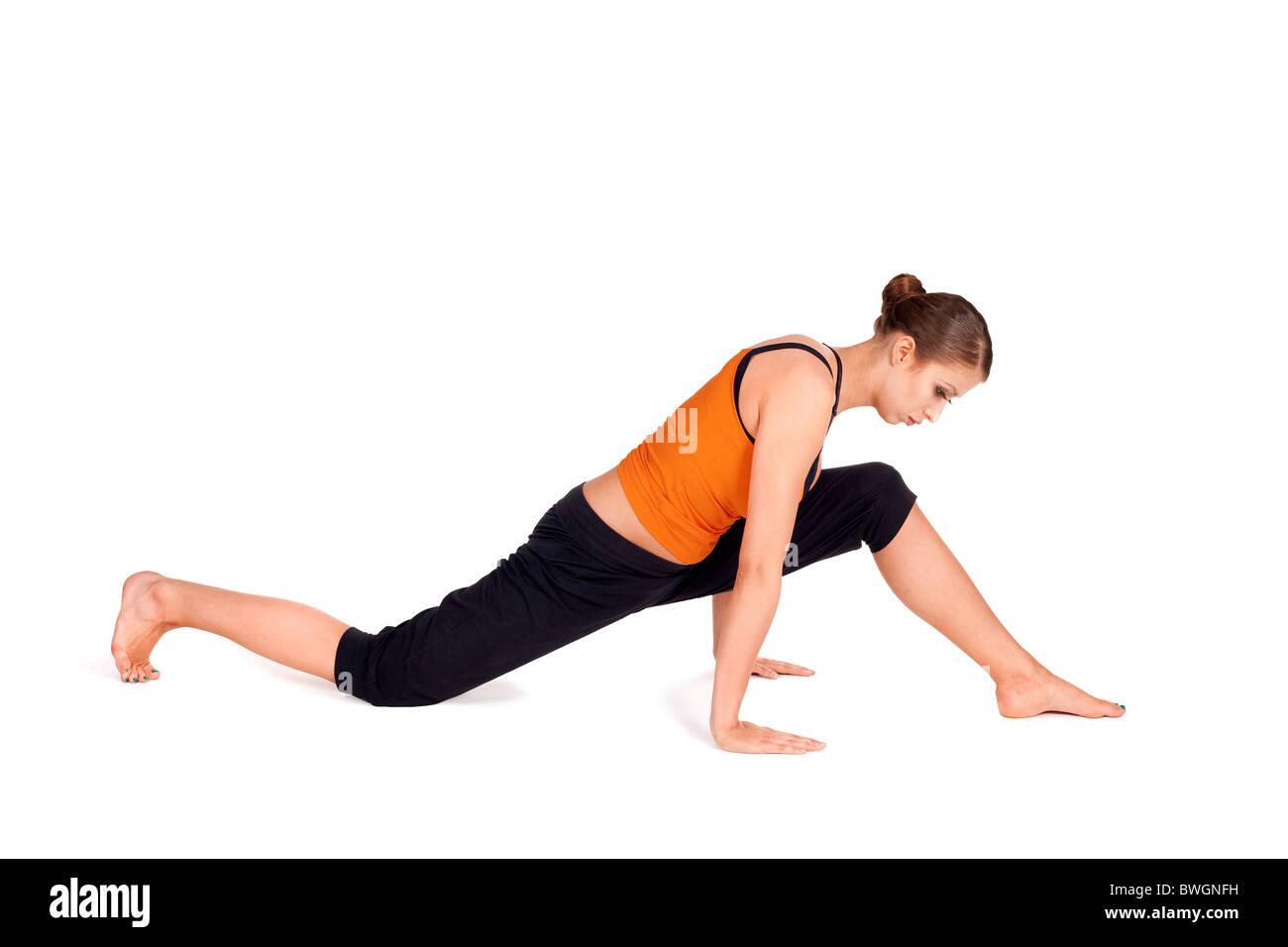 Woman Doing Preparation Exercise For Monkey God Pose Yoga Posture Sanskrit Name Hanumanasana