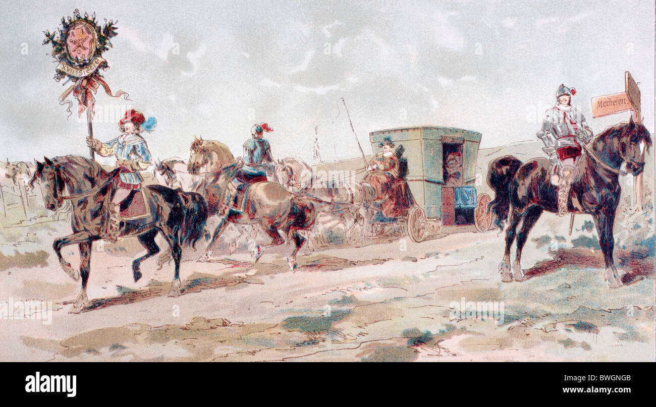 A covered horse drawn coach of the 17th century. - Stock Image