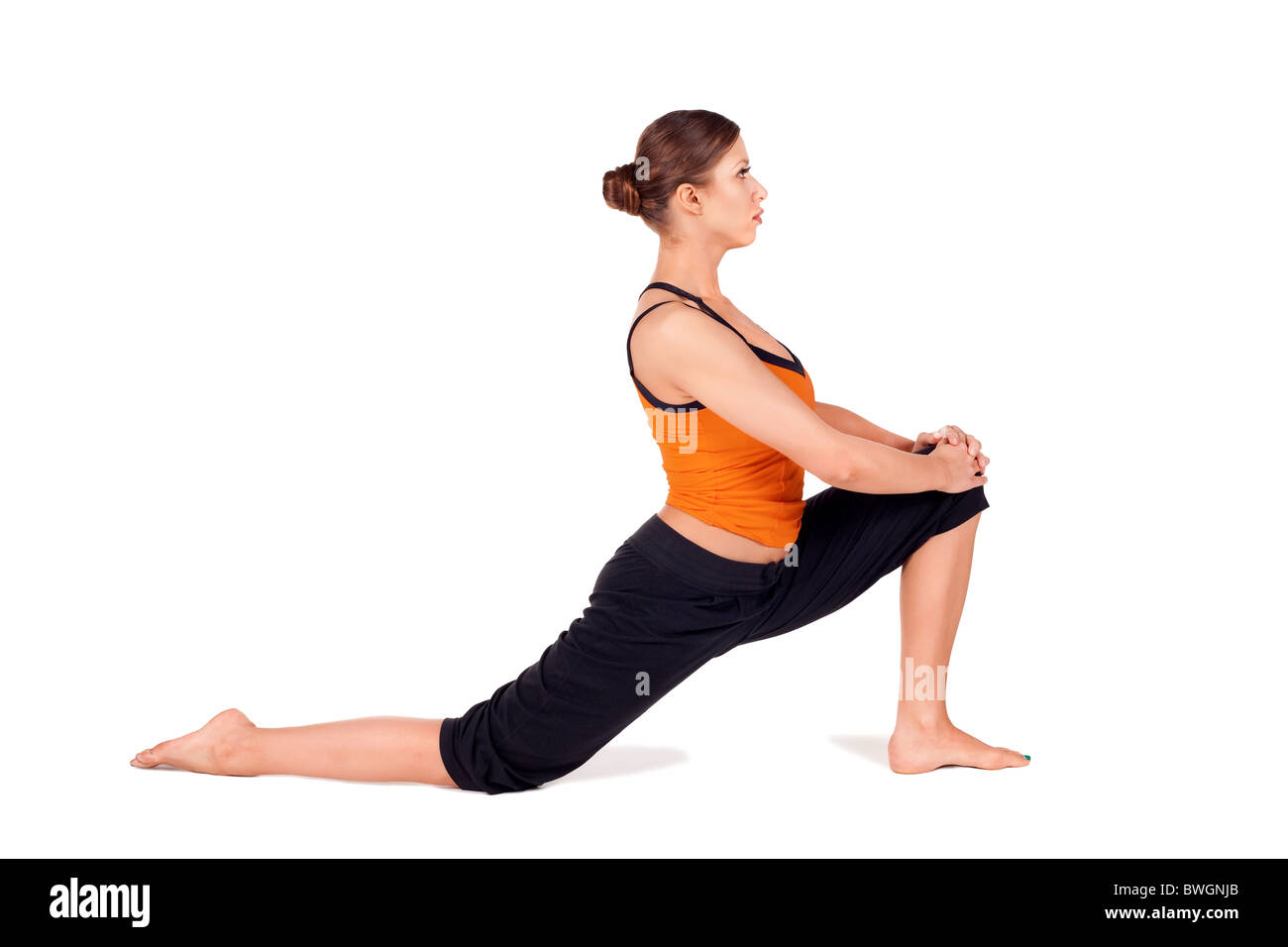 Woman Practicing First Stage Of Yoga Pose Called Crescent Lunge Sanskrit Name Anjaneyasana