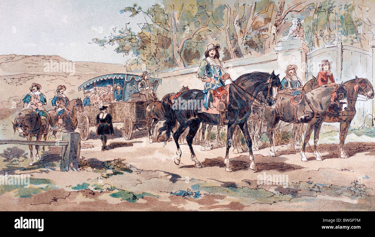 A horse drawn public diligence, or coach, of the 17th century with a mounted escort. - Stock Image