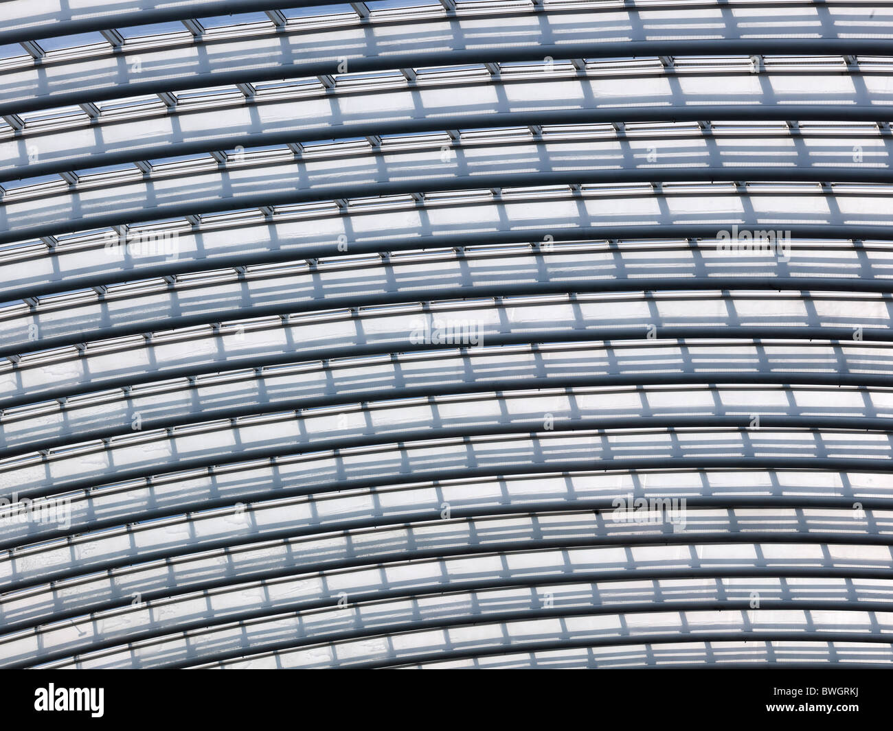 Architectural roof detail of the station in Liège-Guillemin, Belgium, Europe - Stock Image