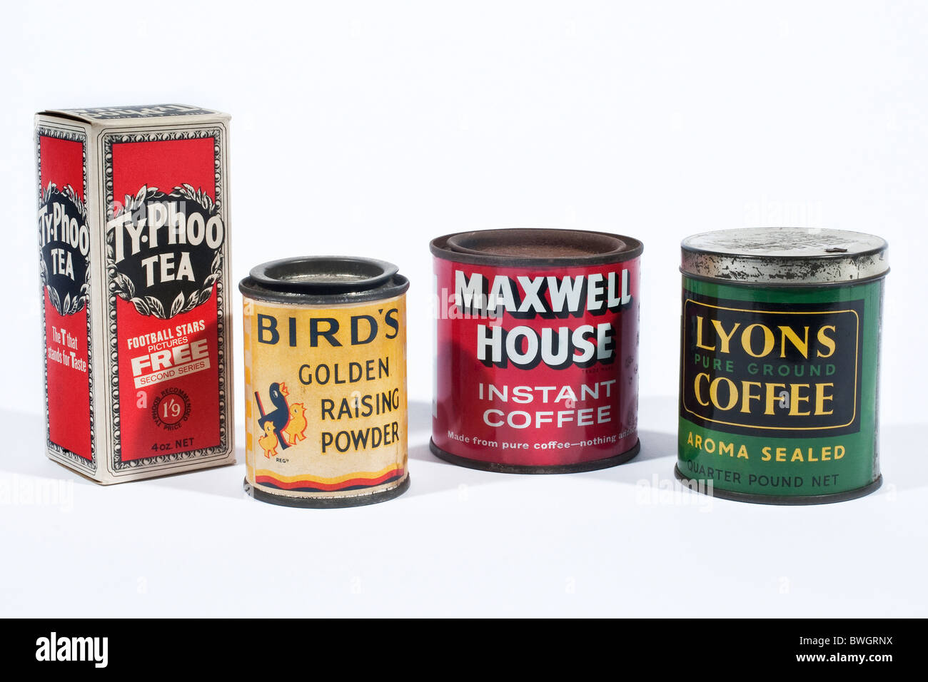 Old tins and packaging for tea, coffee, and Golden Raising Powder - Stock Image