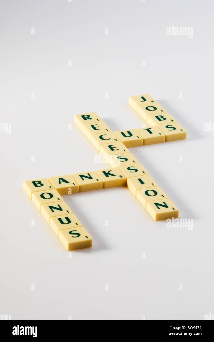 Recession, banks and bonuses. - Stock Image