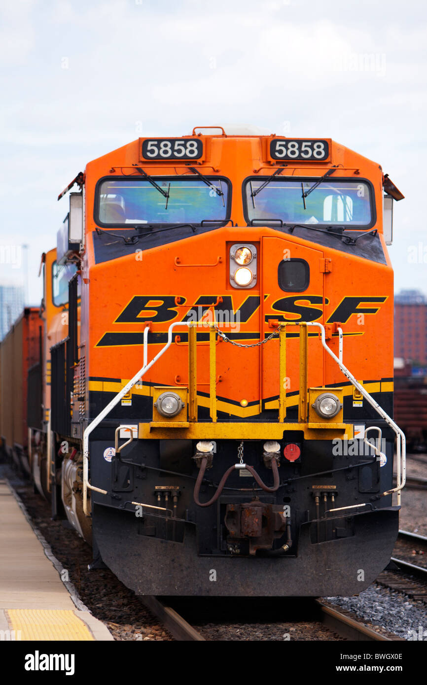 A BNSF freight locomotive in Chicago. - Stock Image