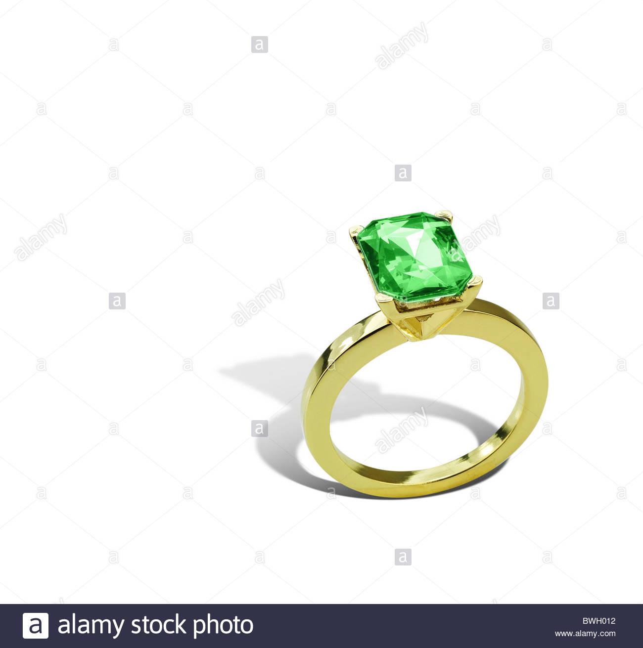 Emerald ring - Stock Image