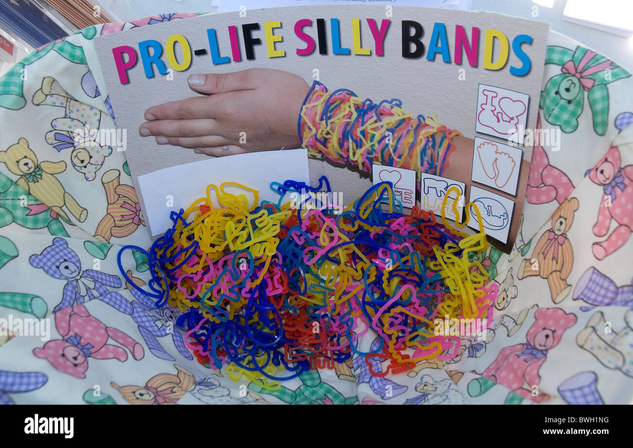 Pro Life Silly Bands at Crossroads Pregnancy Center's Walk For Life Gospel sing and fundraiser Fort White Florida - Stock Image