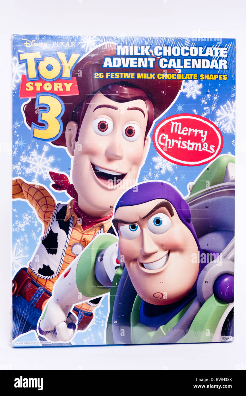 A Toy Story 3 advent calendar with chocolate on a white background - Stock Image