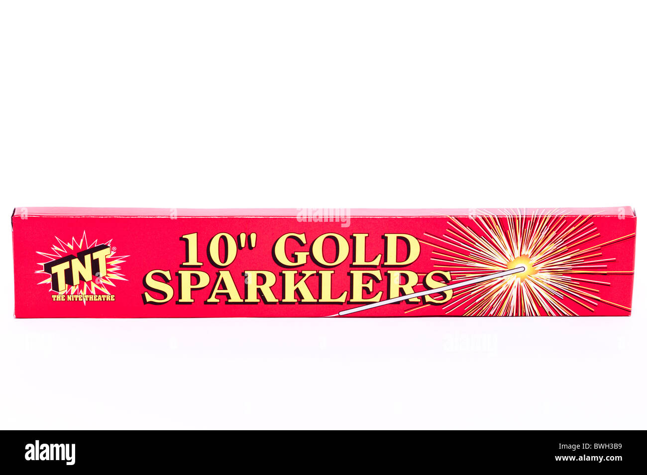 A pack of gold sparklers ( fireworks ) on a white background Stock Photo