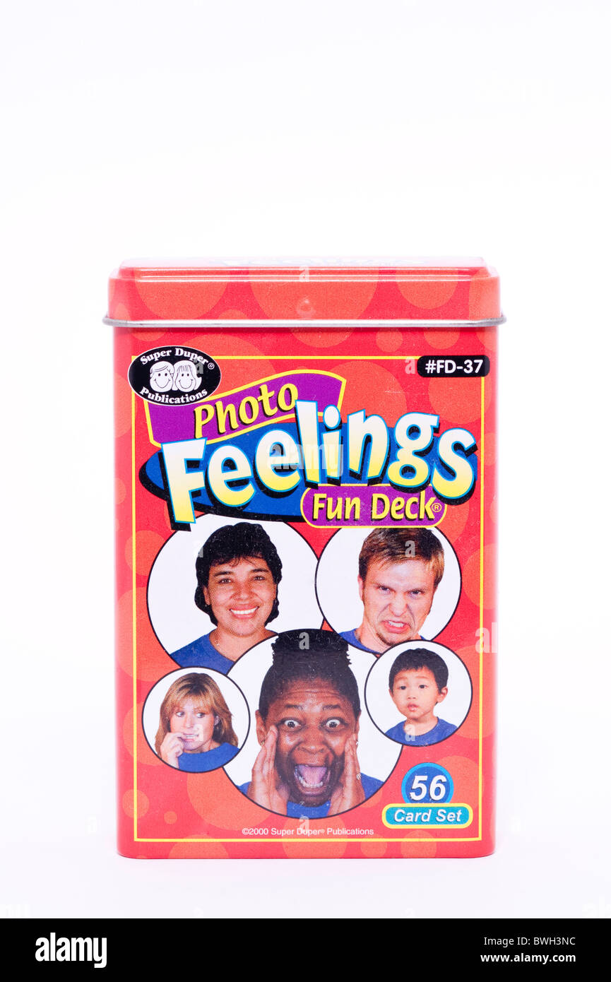 An educational game called photo feelings fun deck on a white background - Stock Image