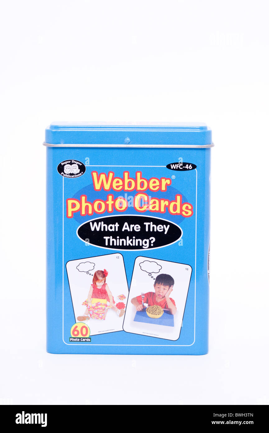 An educational game called Webber photo cards on a white background - Stock Image