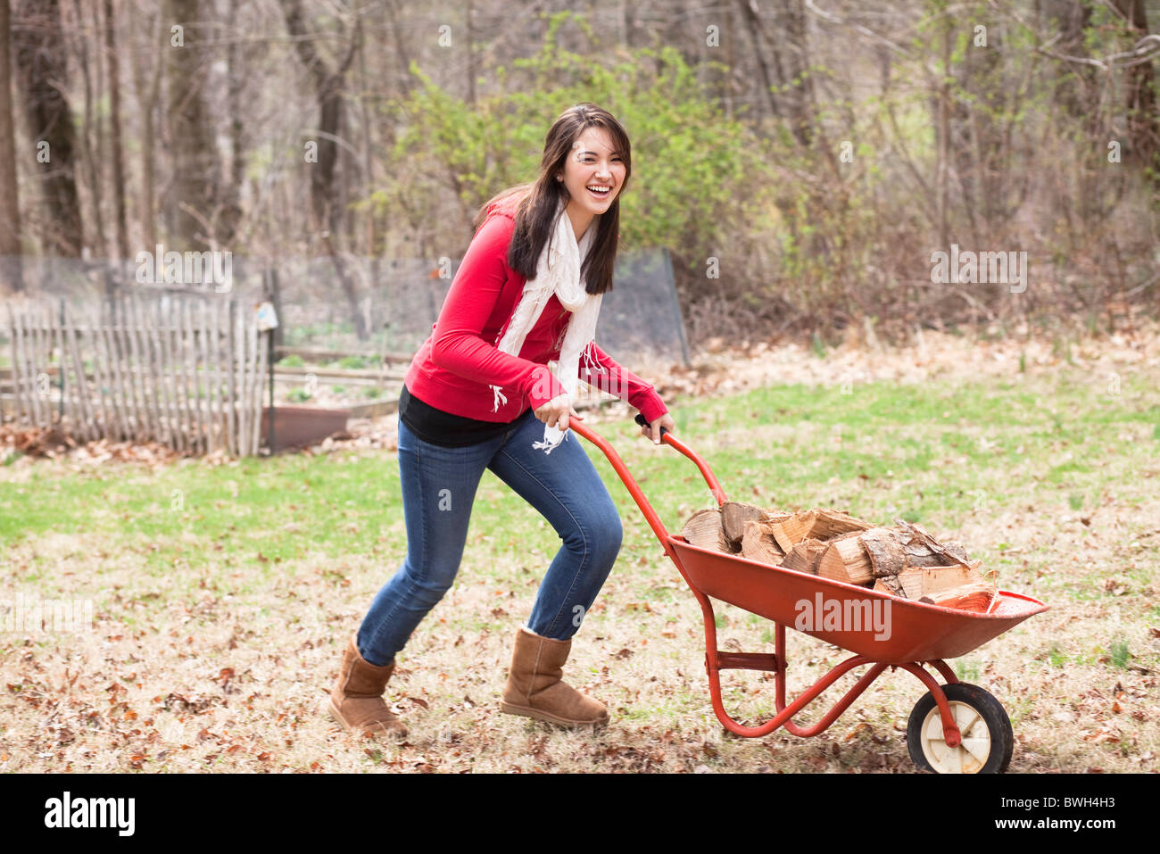 Girl pushing wheelbarrow - Stock Image
