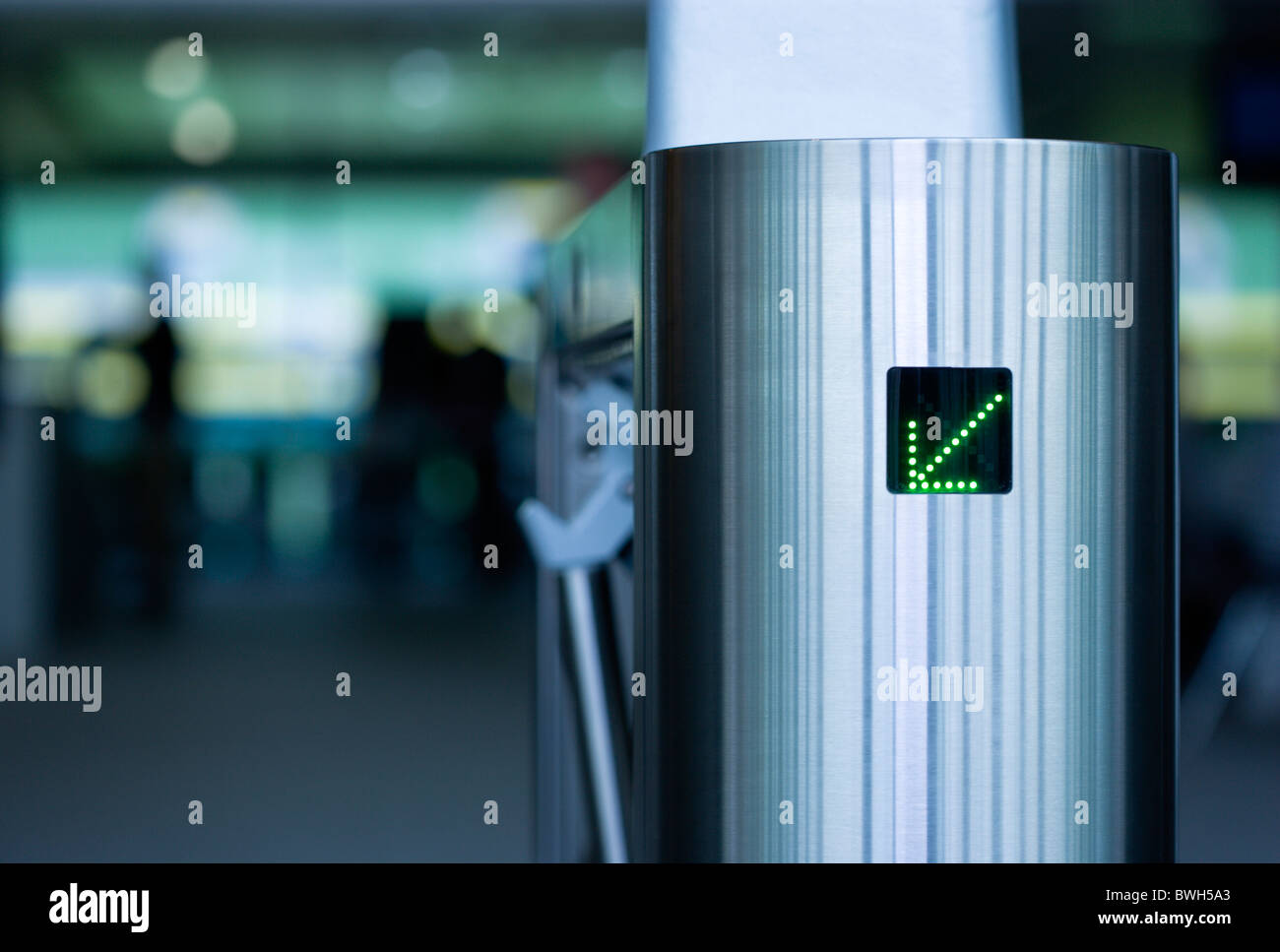 Ireland County Dublin City Ballsbridge Lansdowne Road Aviva Stadium Stainless steel Turnstile at entrance with green - Stock Image
