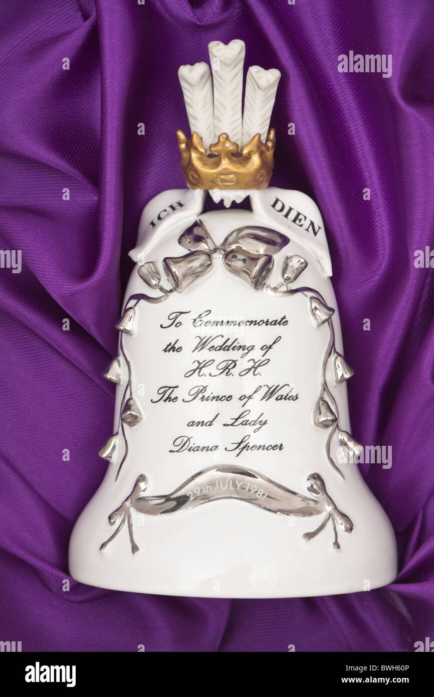 Porcelain bell to commemorate the wedding of H.R.H. The Prince of Wales and Lady Diana Spencer Stock Photo