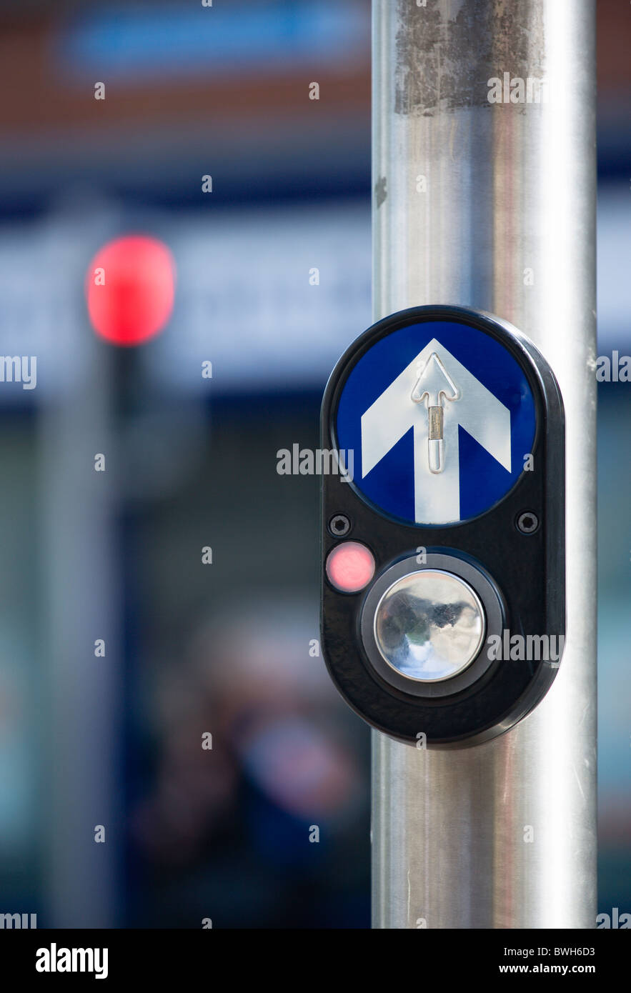 Ireland, County Dublin, Dublin City, Traffic light controlled pedestrian crossing button with halt red light and - Stock Image