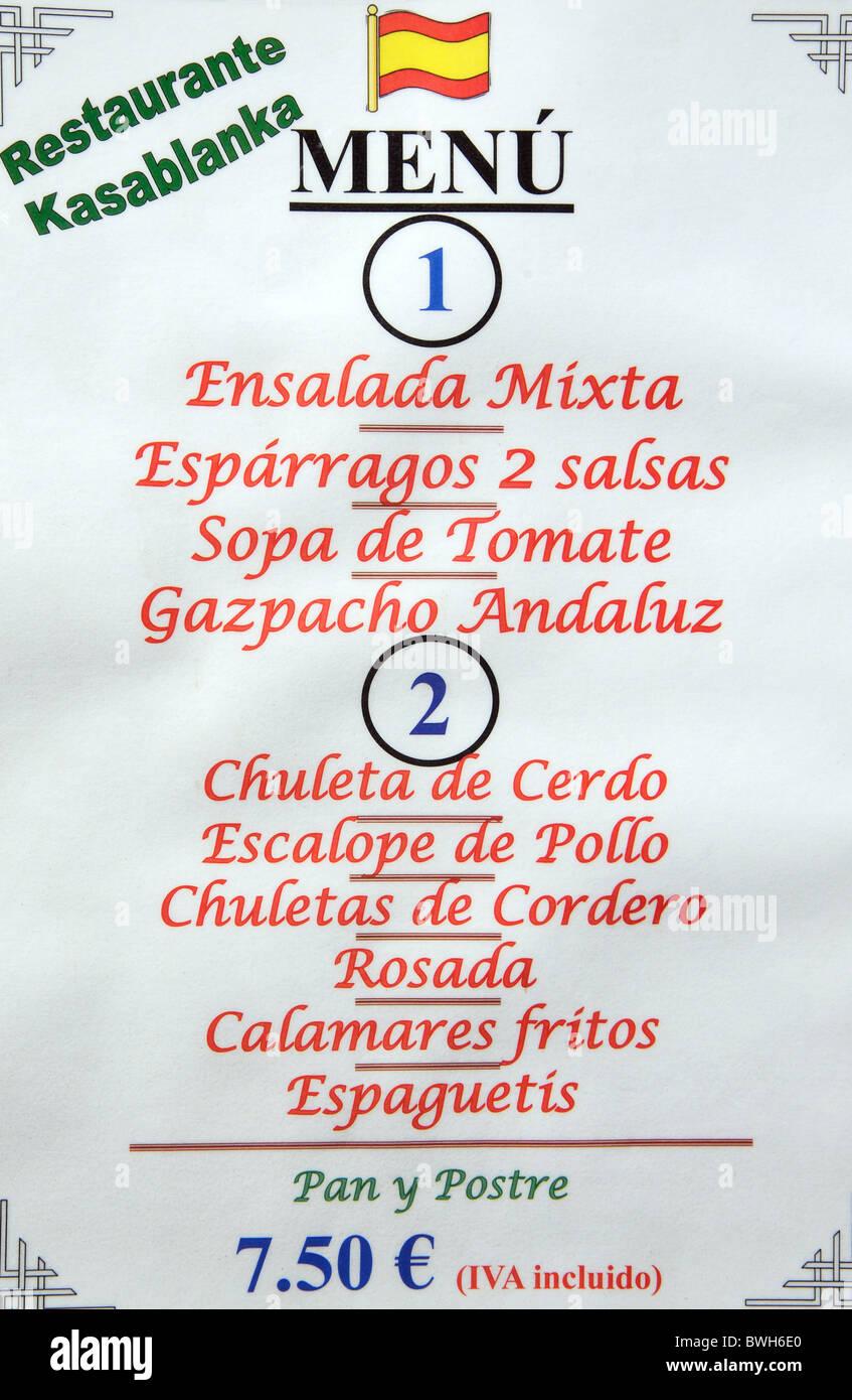 spanish restaurant menu stock photos & spanish restaurant menu stock