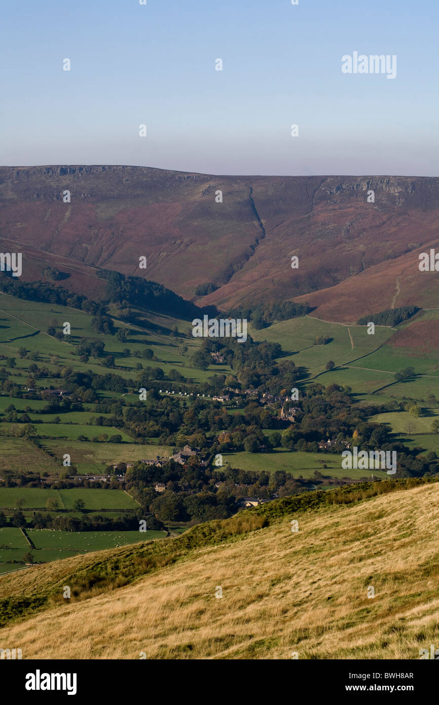 Edale and Kinder Scout from the slopes of Mam Tor Peak District National Park Derbyshire England - Stock Image