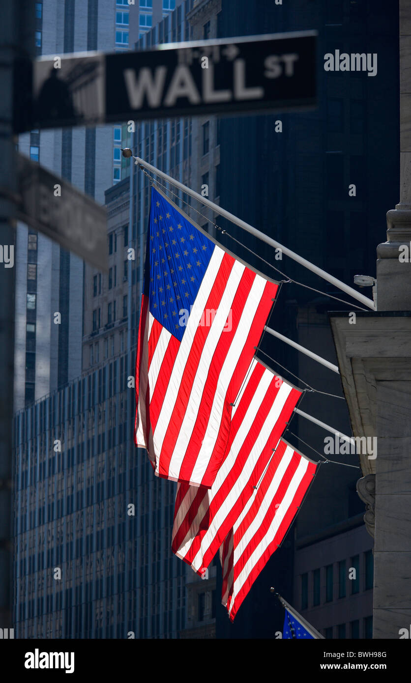 USA New York NYC Manhattan NYSE Flags outside the New York Stock Exchange building in Broad Street beside Wall Street - Stock Image
