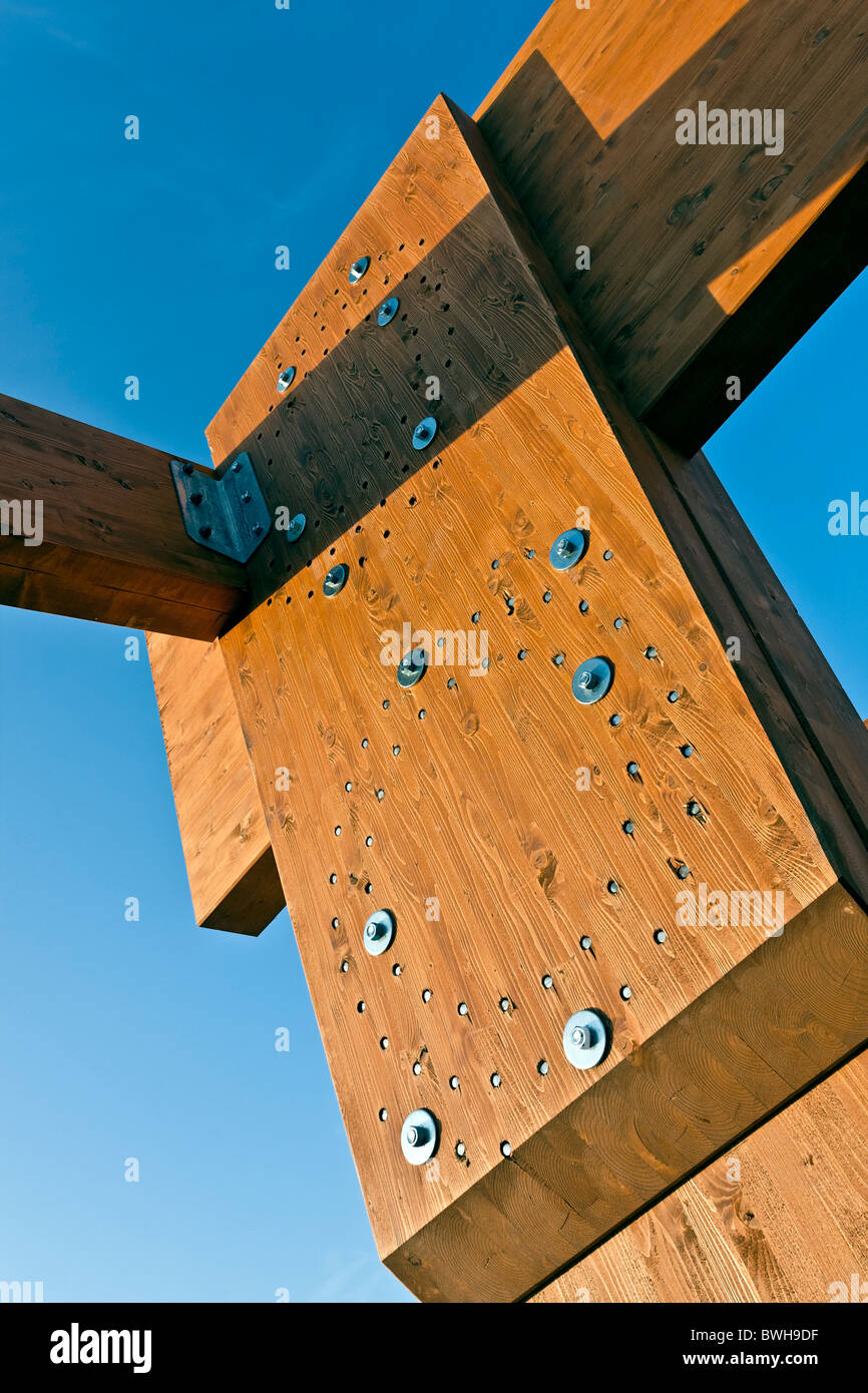 Structural Frame Glulam detail - bolted connection - Stock Image