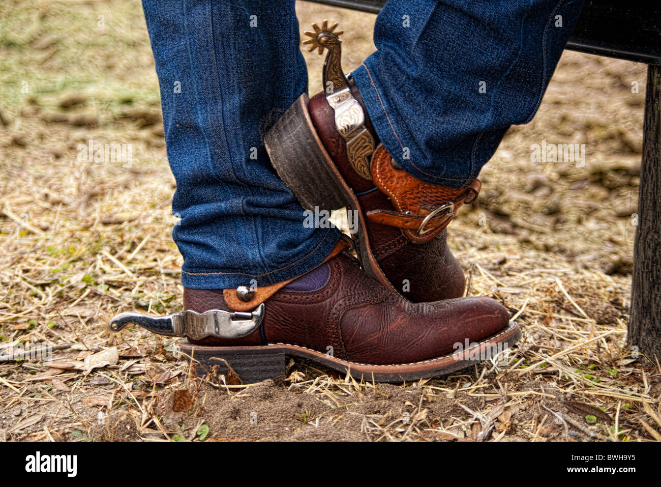 Cowboy boots and spurs - Stock Image