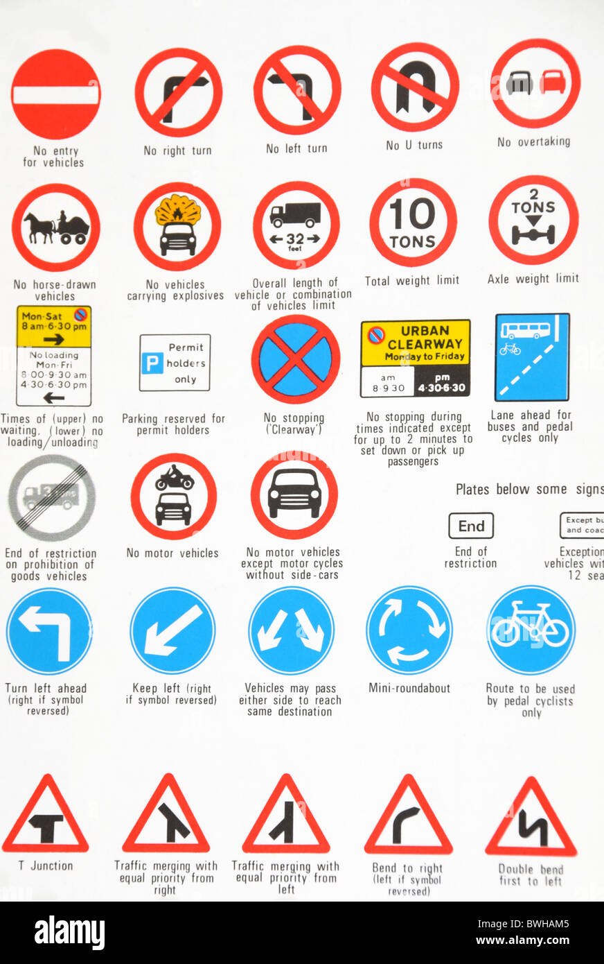 A variety of illustrated UK traffic signs. - Stock Image