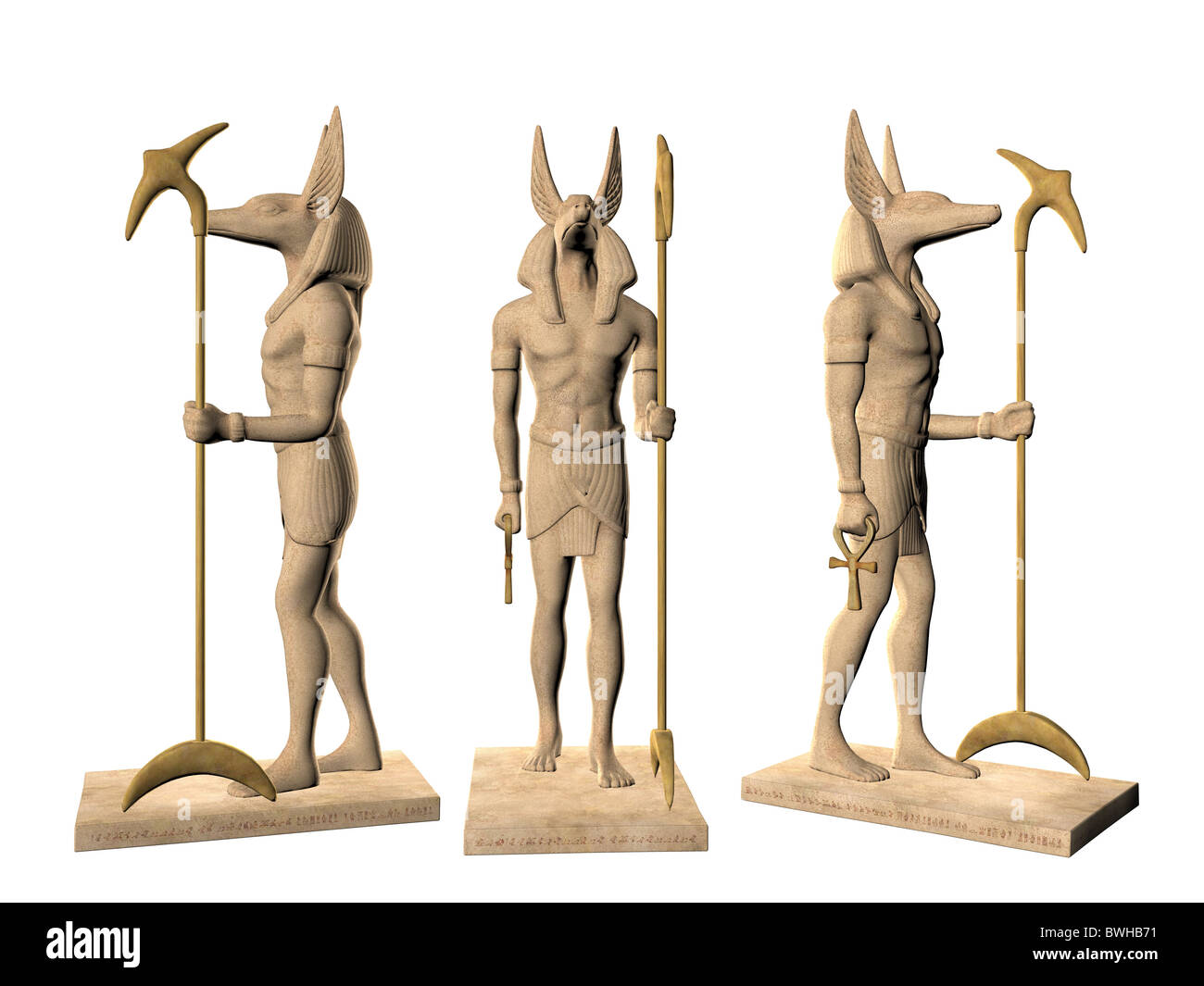 3D illustration of the ancient Egyptian god Anubis Stock
