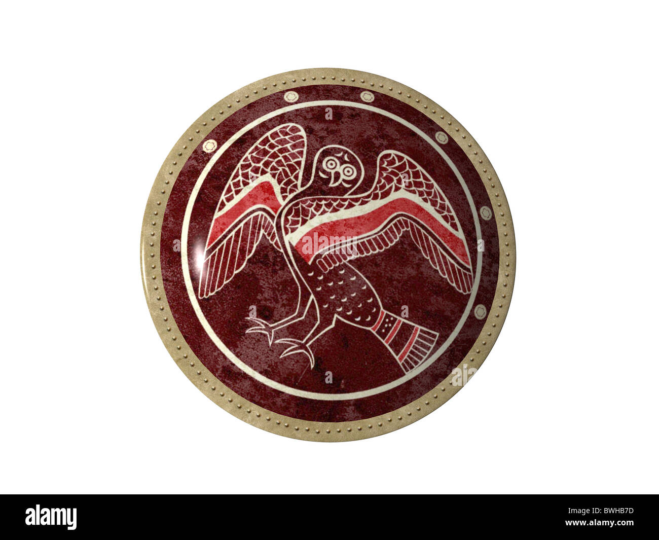 3D illustration of ancient Greek shield - Stock Image