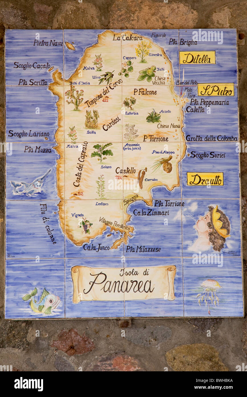 Tile painting island map Panarea island Aeolian Islands Sicily