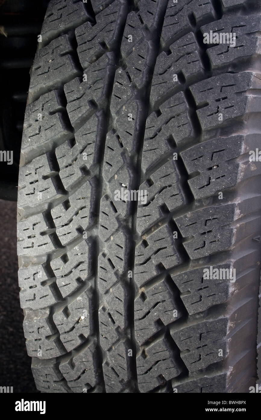 Car Tire - Close-up showing tread - Stock Image