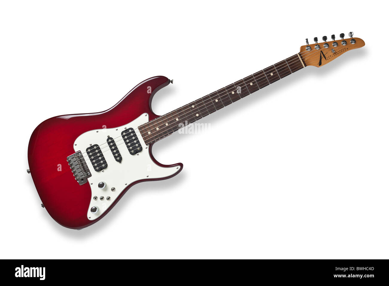 An electric guitar of Tom Anderson's brand name. Guitare électrique de marque Tom Anderson. - Stock Image