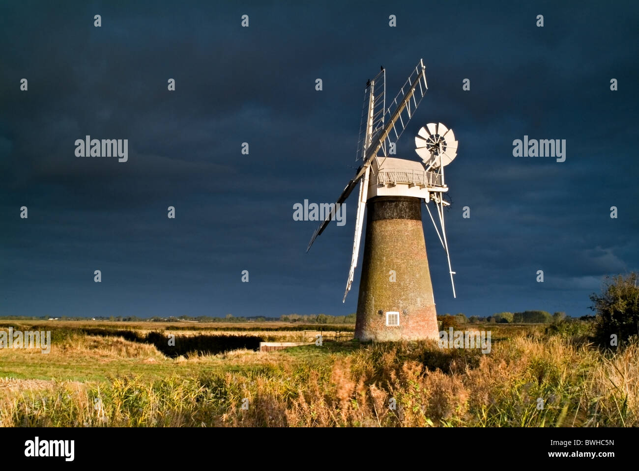 A windmill in the Norfolk Broads taken a dawn - Stock Image