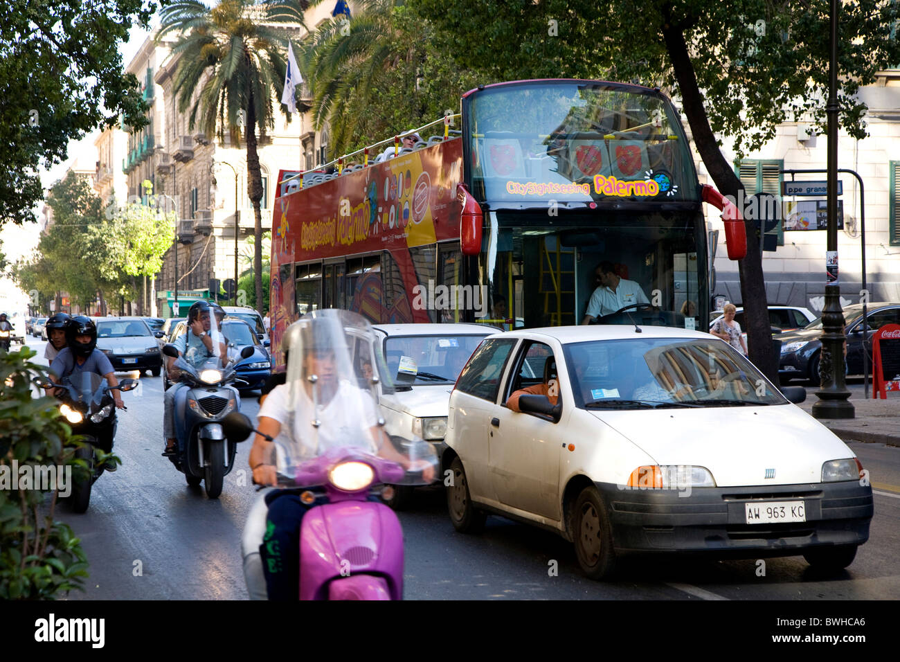Sightseeing bus, tourist bus, traffic, palm trees, Palermo, Sicily, Italy, Europe Stock Photo