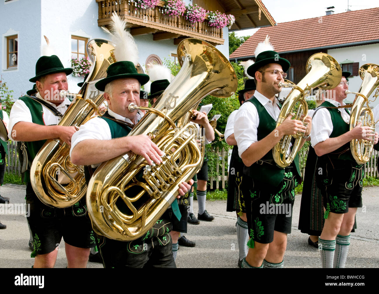 Bavarian march music at a traditional festival - Stock Image