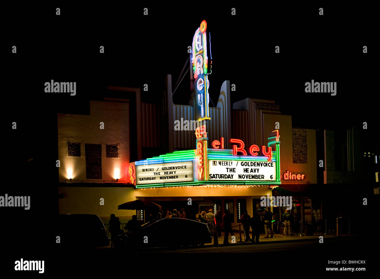 The 'El Rey' theater on Wilshire Boulevard, Los Angeles, California, USA (at NIGHT) - Stock Image
