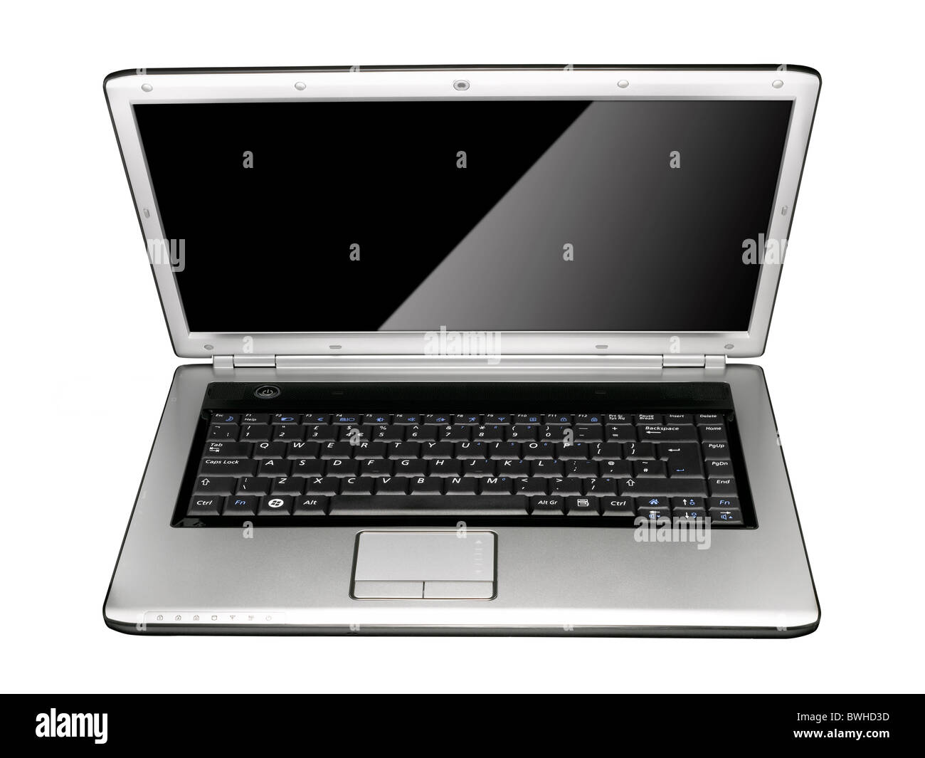An open stylish silver laptop - Stock Image