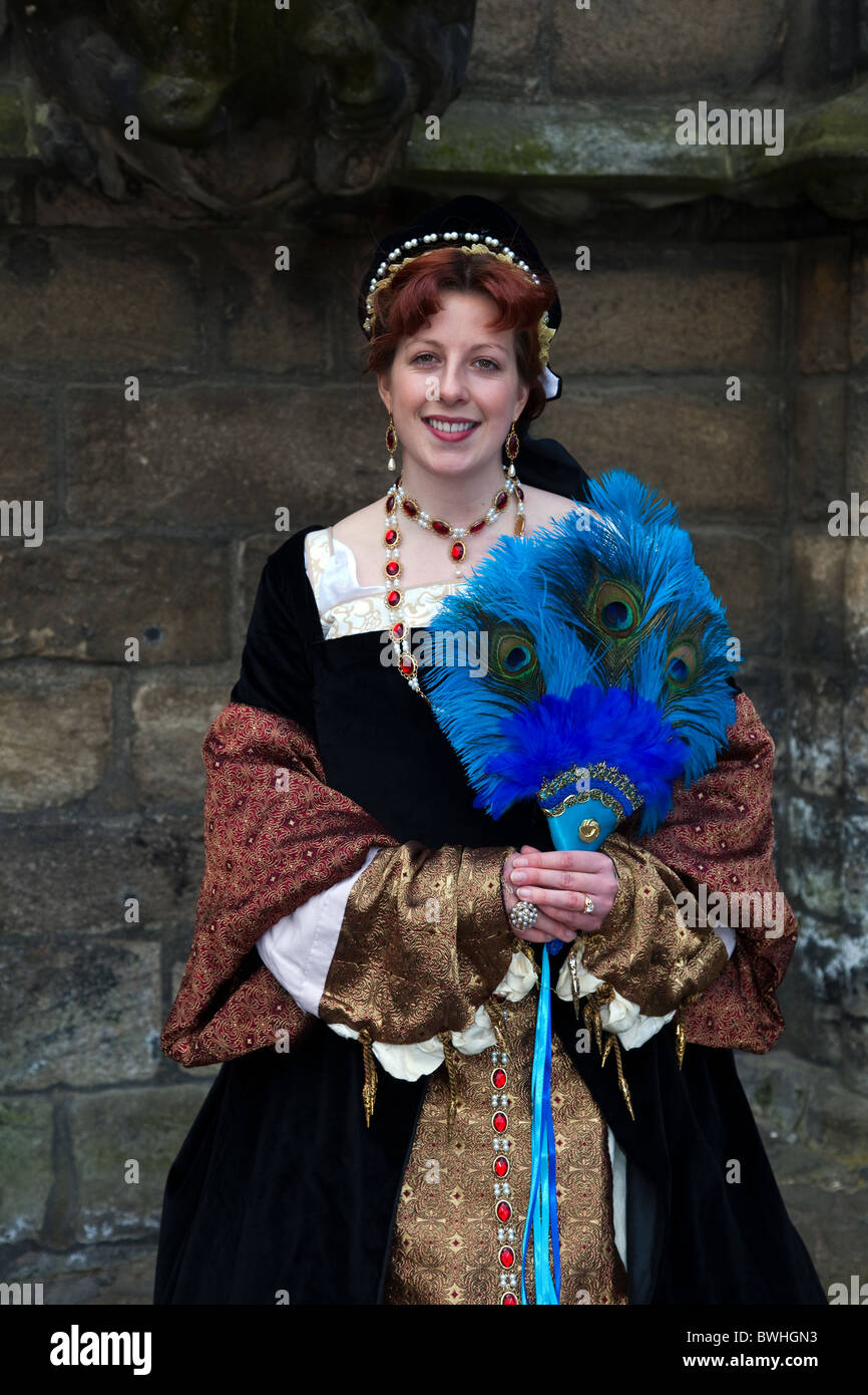 """""""Mary of Guise"""" Historical Figures in period costumes at Stirling Castle   Re-Enactment Tourist Event  Costumed Stock Photo"""