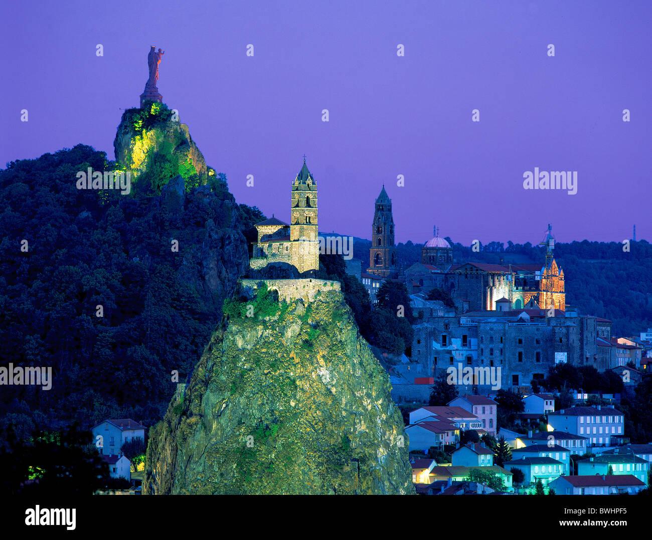 France Europe Le Puy-en-Velay Mary statue Notre Dame Our Lady de France statue chapel Saint Michel d'Aiguilhe - Stock Image